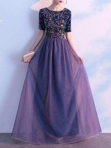 Milanoo Fiesta Vestidos purpuras cuello de la joya Lentejuelas mangas cortas Vestido en capas semi largo