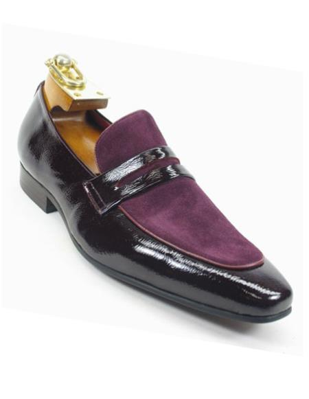 Burgundy Men's Genuine Slip On Style Patent Leather Loafers Shoes