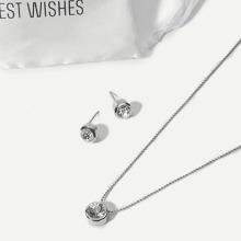 Halskette mit Strassstein und Ohrstecker - silber
