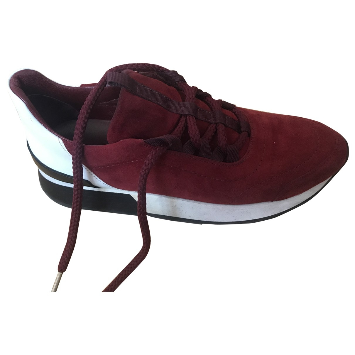 Hermès Miles Burgundy Suede Trainers for Women 37 EU