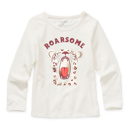 Okie Dokie Toddler Girls Round Neck Long Sleeve Graphic T-Shirt, 4t , White