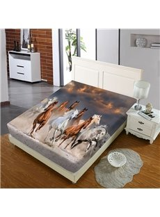 Galloping Horses Reactive Printing 1-Piece Polyester Bed Cover / Mattress Cover