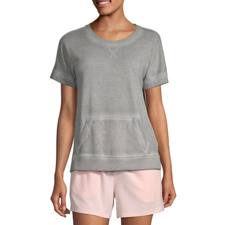 Ambrielle Womens French Terry Pajama Top Round Neck, Medium , Gray