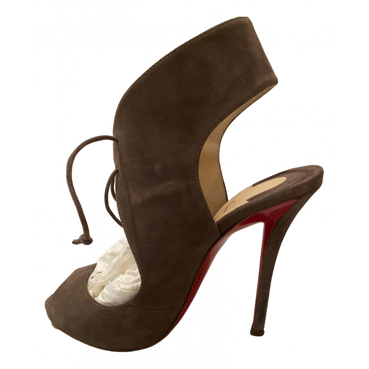 Christian Louboutin \N Grey Suede Heels for Women 36.5 EU