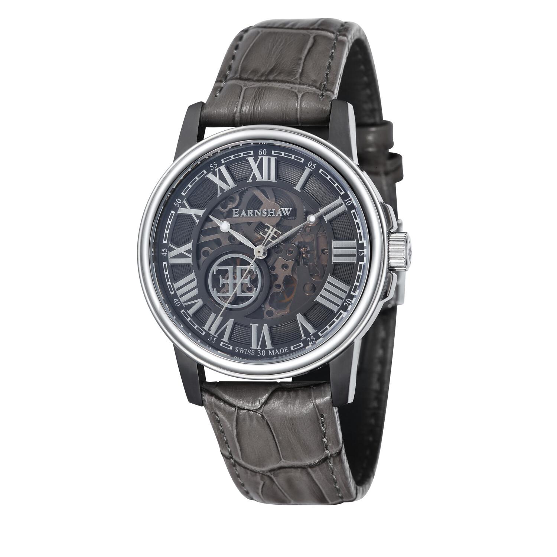 Thomas Earnshaw Mens Beagle ES-0028-09 Silver Leather Hand Wind Fashion Watch