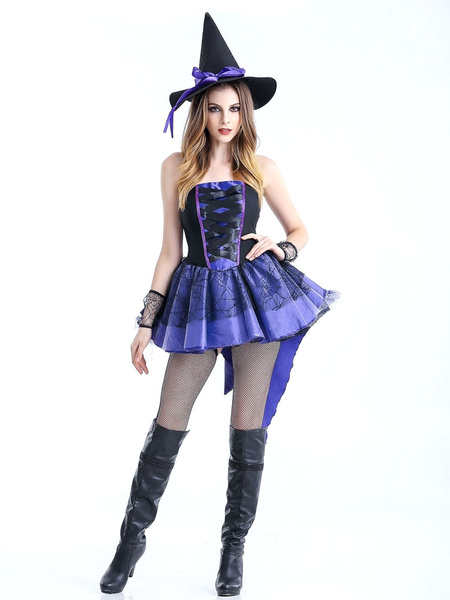 Milanoo Halloween Sexy Costumes Witch Women's Purple Strapless Skater Dress With Witch Hat Halloween
