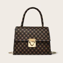 Push Lock Flap Satchel Bag