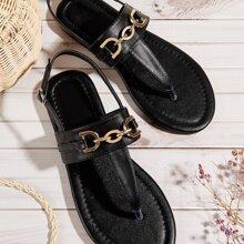 Metal Decor Slingback Thong Sandals