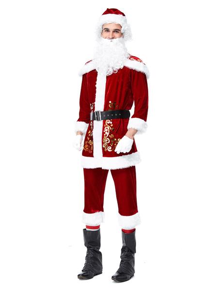 Milanoo Disfraz Halloween Conjunto de Navidad para hombres Traje de Papa Noel Disfraces de fiestas rojas Carnaval Halloween