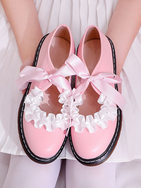 Milanoo Sweet Lolita Footwear Bows Ruffles Round Toe PU Leather Lolita Pumps