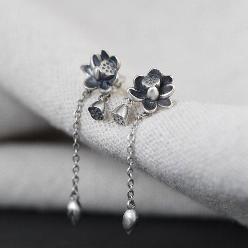 925 Sterling Silver Ear Stud Water Hibiscus Flower Bud Tassel Pendant Women Earrings