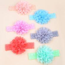 6 Stuecke Baby Stirnband mit Blumen Dekor