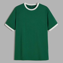 Maenner T-Shirt mit Kontrast Saum
