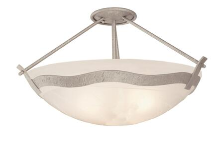 Aegean 5457PS/GLDSTRK 3-Light Semi Flush Mount Ceiling Light in Pearl Silver with Gold Streaked Amber Standard Bowl  Glass
