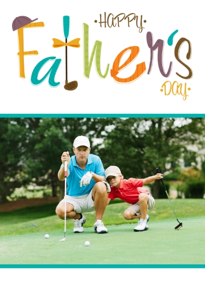 Father's Day 5x7 Folded Cards, Standard Cardstock 85lb, Card & Stationery -Golf Tool Kit