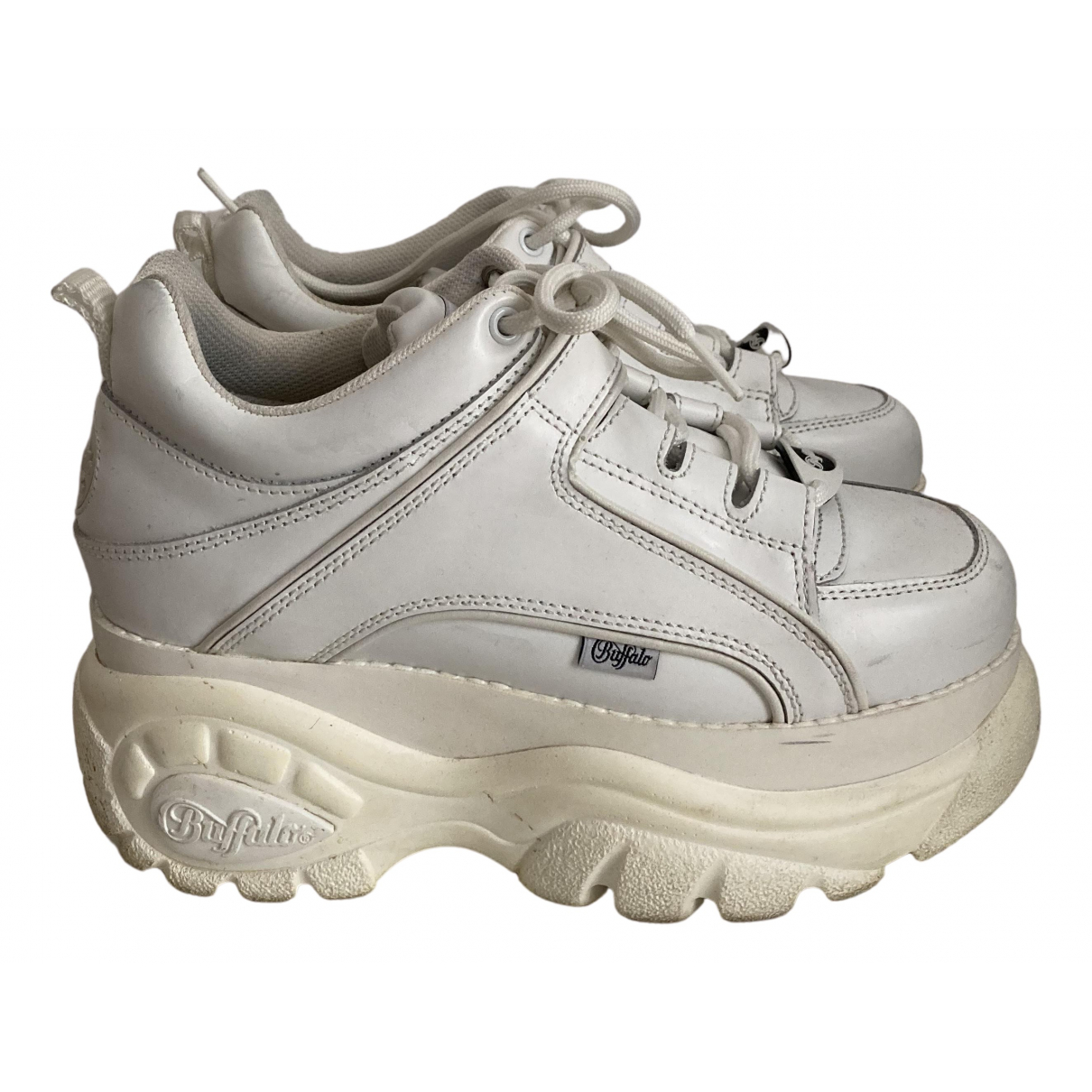 Buffalo N White Leather Trainers for Women 38 IT