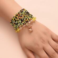 13 piezas pulsera con diseño de cristal con mariposa