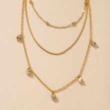 Collar a capas con diseño de diamante de imitacion