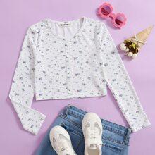 Crop T-Shirt mit Gaensebluemchen Muster und Knopfen vorn