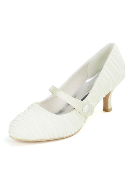 Milanoo Wedding Shoes White Satin Round Toe Stiletto Heel Bridal Shoes