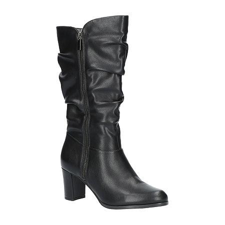 Easy Street Womens Mara Slouch Boots Block Heel, 11 Medium, Black