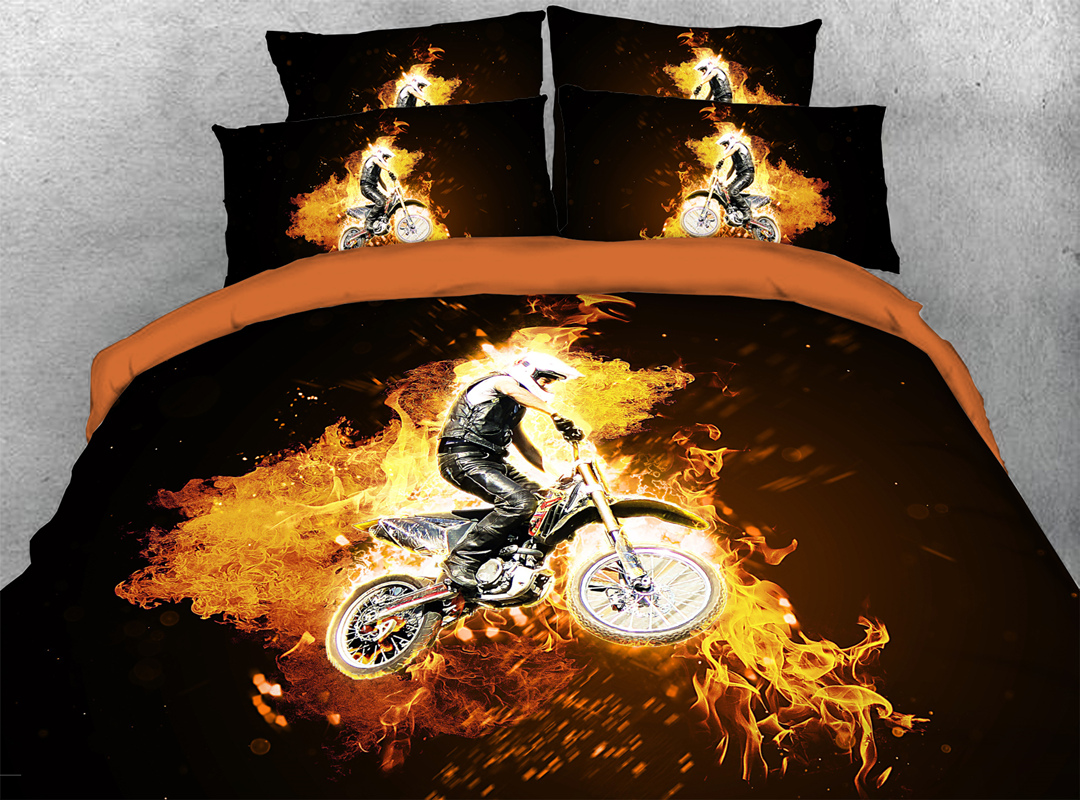 3D Fire Motorcycling Sports Bedding 4Pcs Soft Durable Duvet Cover Set with Zipper Ties