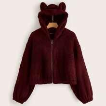 Plus 3D Ear Hooded Teddy Jacket