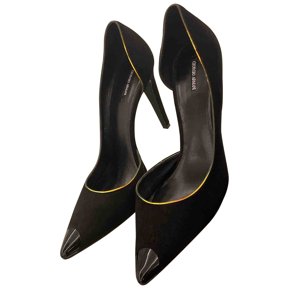 Giorgio Armani N Black Suede Heels for Women 39 EU