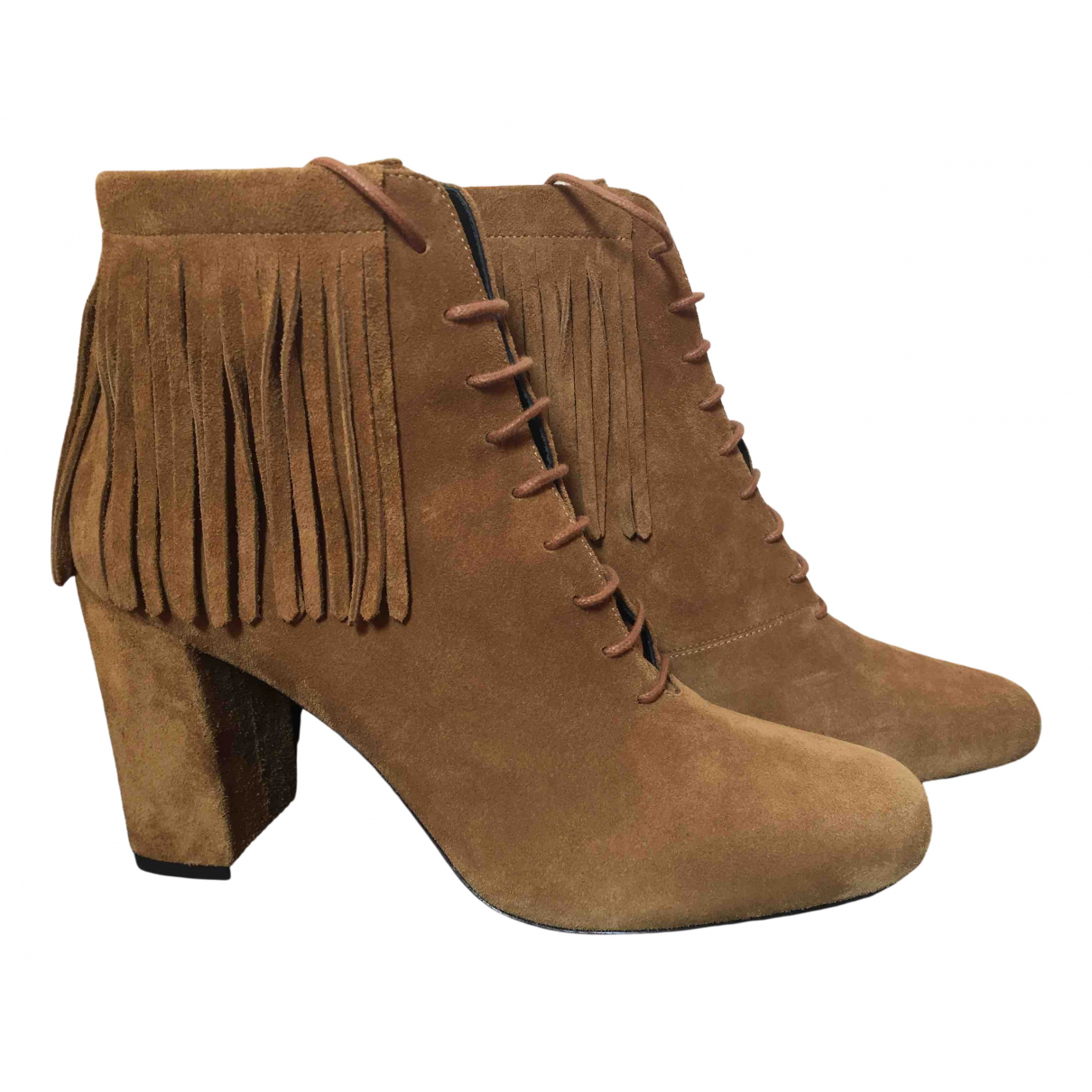 Saint Laurent N Camel Suede Ankle boots for Women 39.5 IT