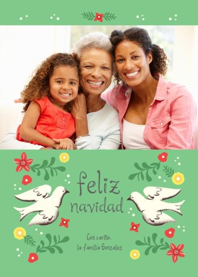 Tarjetas de Navidad 5x7 Cards, Premium Cardstock 120lb, Card & Stationery -Feliz Navidad Doves