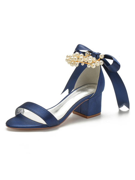 Milanoo Ivory Wedding Shoes Satin Open Toe Pearls Bows Chunky Heel Bridal Shoes Block Heel Bridesmaid Shoes