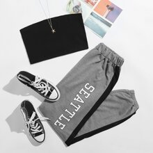 Solid Tube Top & Letter Striped Sweatpants