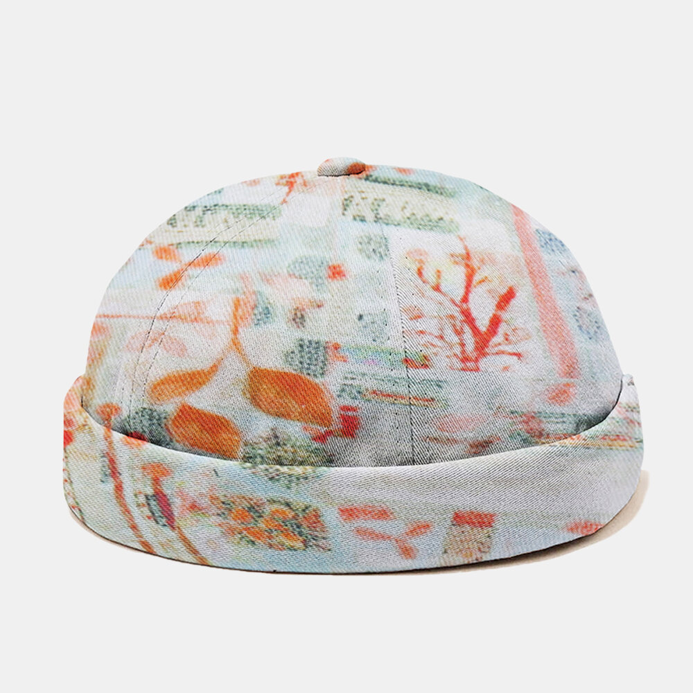 Men & Women Art Plant Hazy Print Fashion Landlord Hat Skull Caps Brimless Cap