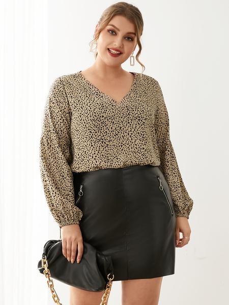 YOINS Plus Size V-neck Leopard Long Sleeves Blouse