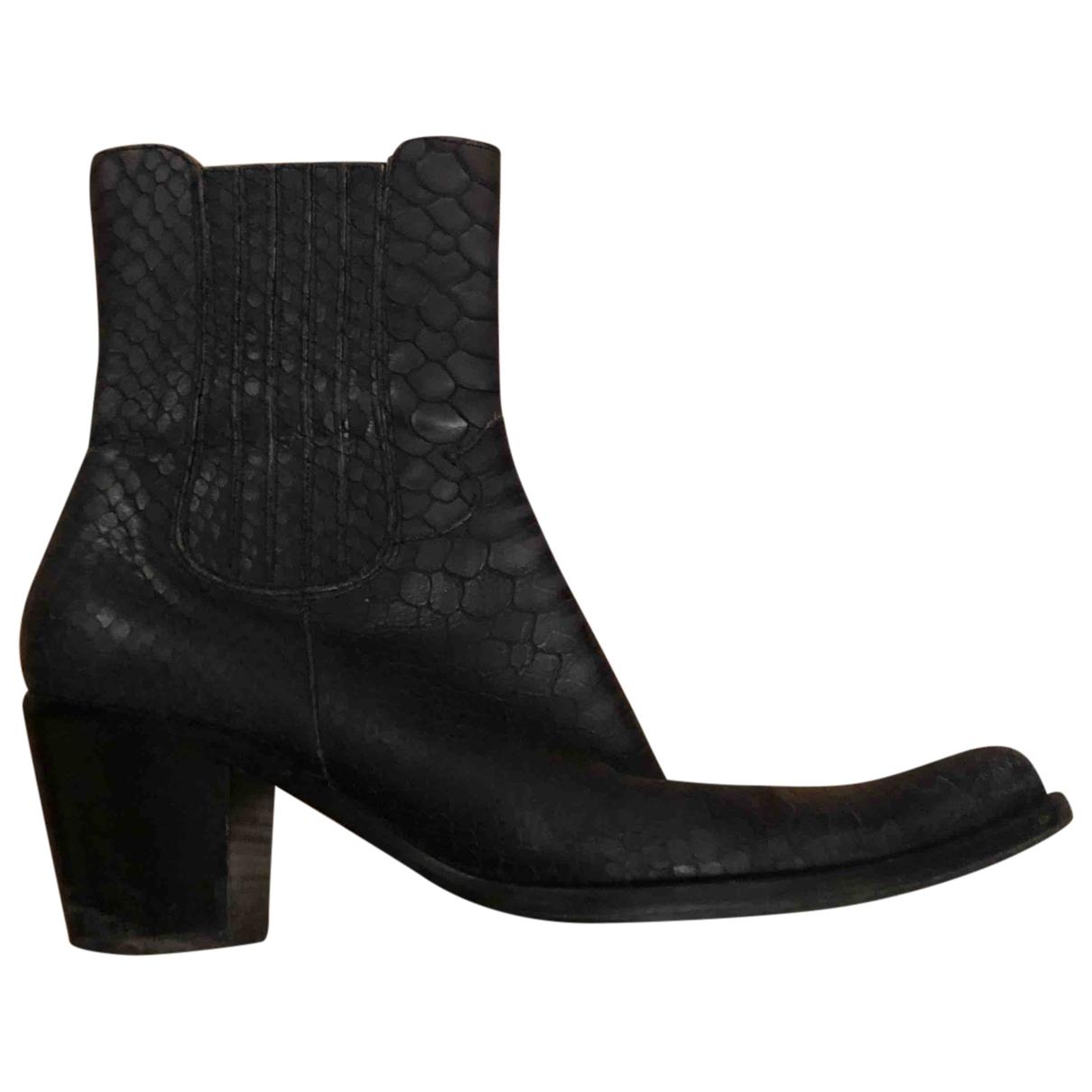 - Boots   pour femme en cuir - bleu