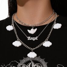 Angel & Cloud Layered Chain Necklace