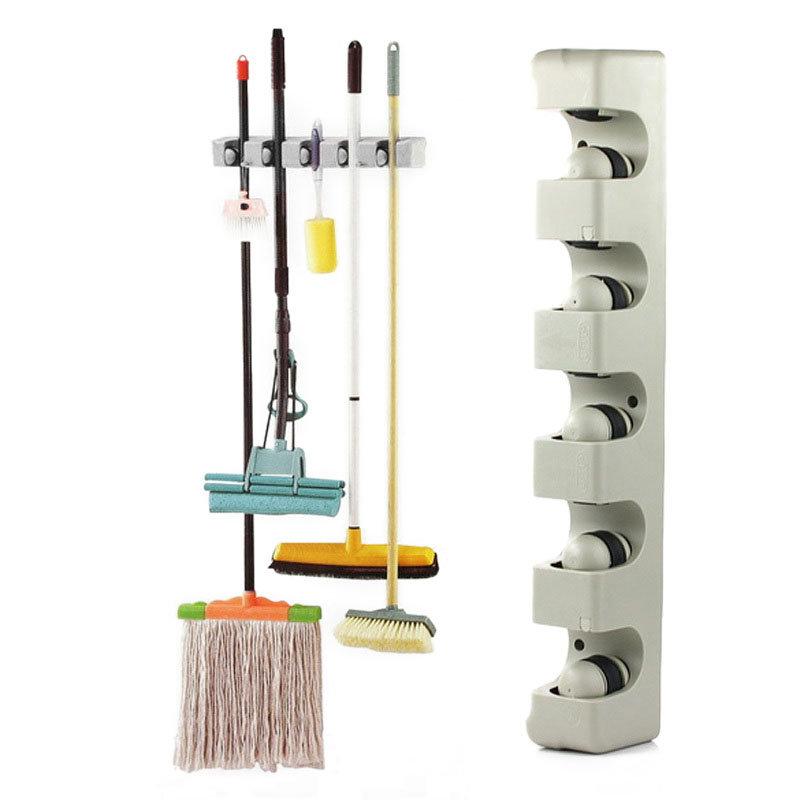 5 Position 6 Hooks Wall Mounted Mop Broom Holder Hanger Kitchen Shelf Storage Holder