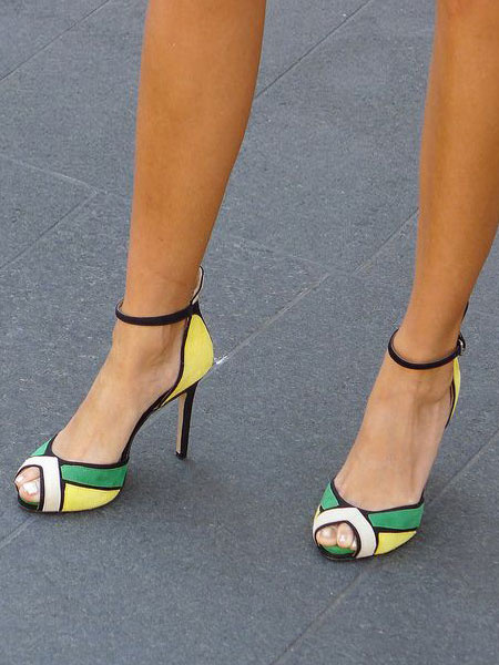 Milanoo High Heels Sandals Green and Yellow Peep Toe Ankle Strap Sandal Women High Heels Shoes