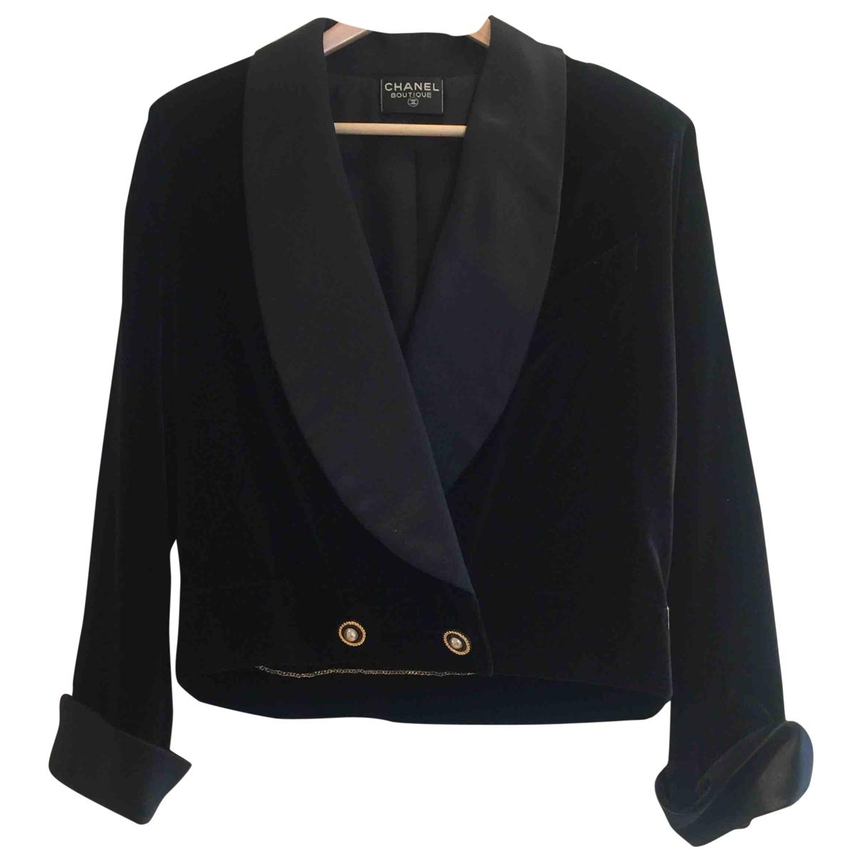 Chanel \N Black Velvet jacket for Women 42 IT