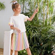 Conjunto de niñas camiseta aplique floral con falda fruncido de colores