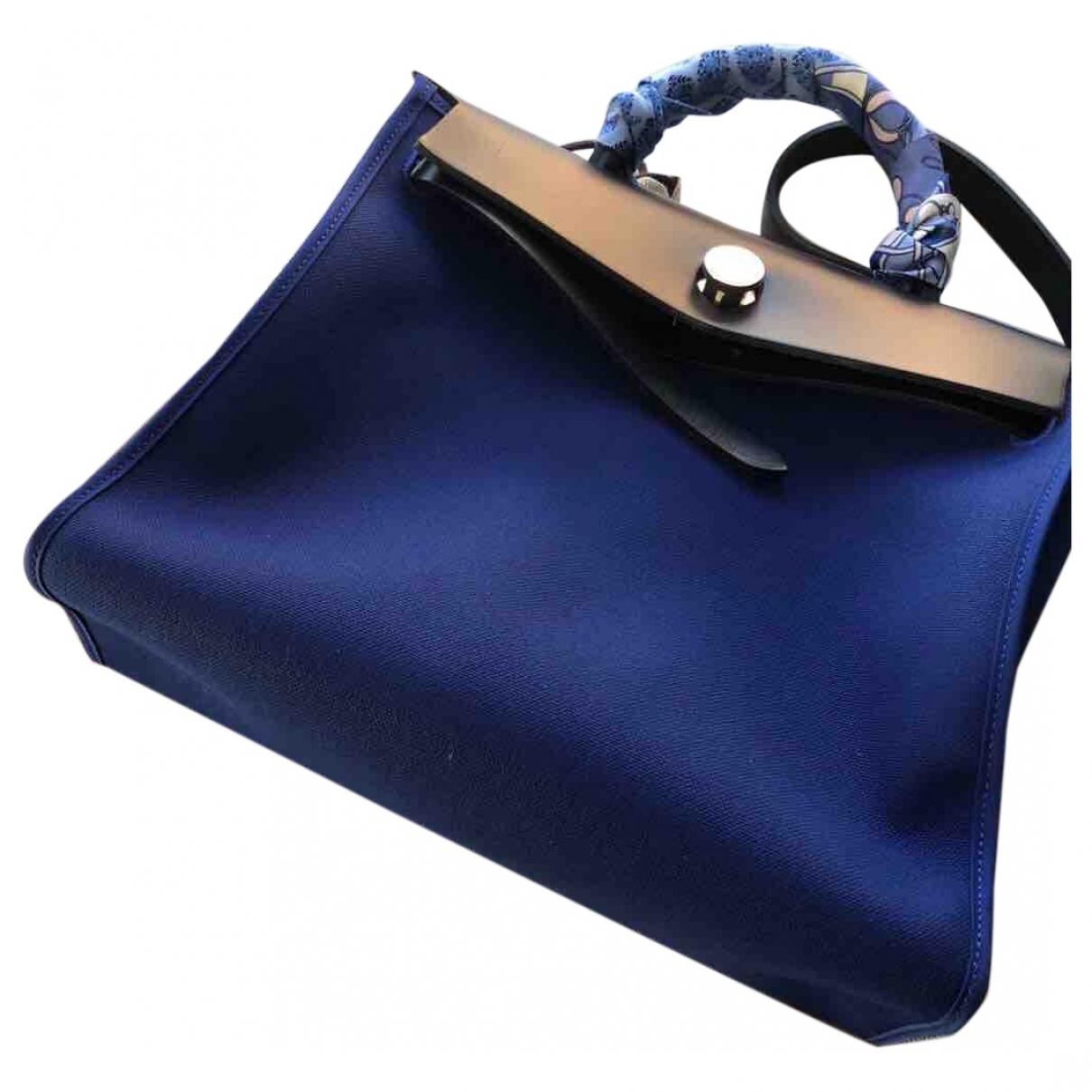 Hermes - Sac a main Herbag pour femme en toile - bleu