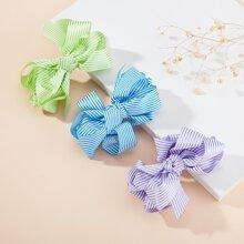 3pcs Toddler Girls Striped Pattern Hair Clip