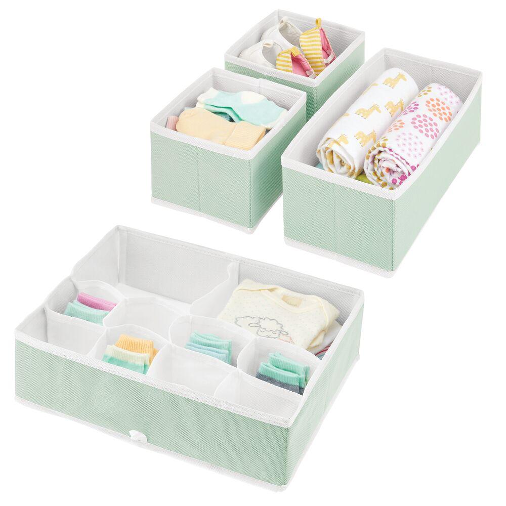Baby + Kids Fabric Dresser Drawer Storage Organizer in Mint Green/White, Set of 4, by mDesign