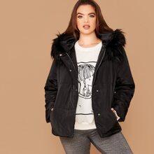 Plus Faux Fur Trim Pocket Side Padded Jacket