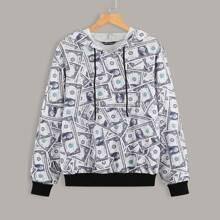 Hoodie mit Dollar Muster