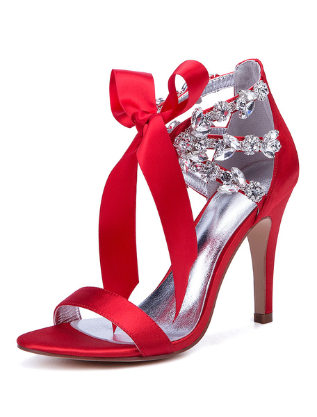 Milanoo Satin Wedding Shoes Red Open Toe Rhinestones Lace Up Bridal Shoes High Heel Sandals