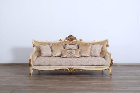 Veronica Collection Luxury Sofa  Hand Carved and Handcrafted  Mahogany Wood Solid  in Beige and Dark Gold