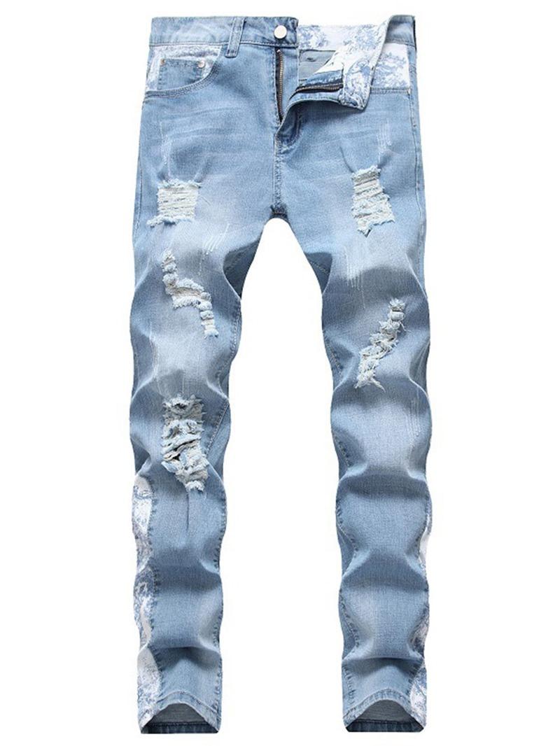 Ericdress Color Block Worn Men's Mid Waist Jeans