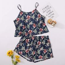 Plus Allover Floral Cami Top With Shorts PJ Set