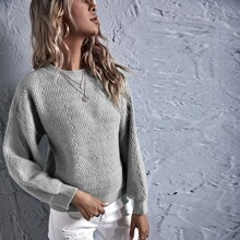 Solid Chevron Knit Drop Shoulder Sweater
